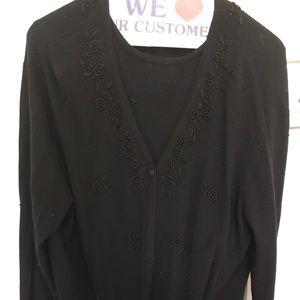 Practically new black beaded sweater set